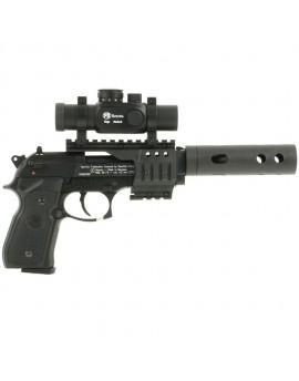 Pistolet Beretta 92 FS 4.5mm avec point rouge et silencieux
